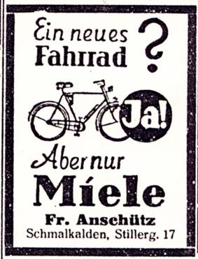 Anzeige: Miele Fahrräder um 1935